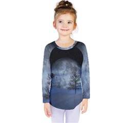 Winter Wintry Moon Christmas Snow Kids  Long Sleeve Tee by Celenk