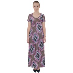 Pattern Texture Moroccan Print High Waist Short Sleeve Maxi Dress