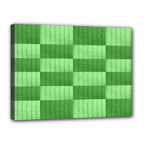Wool Ribbed Texture Green Shades Canvas 16  X 12  by Celenk