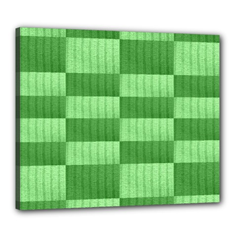 Wool Ribbed Texture Green Shades Canvas 24  X 20  by Celenk