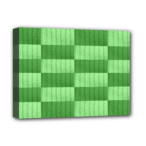 Wool Ribbed Texture Green Shades Deluxe Canvas 16  X 12   by Celenk