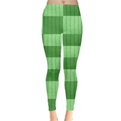 Wool Ribbed Texture Green Shades Leggings  by Celenk