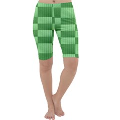 Wool Ribbed Texture Green Shades Cropped Leggings  by Celenk