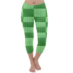 Wool Ribbed Texture Green Shades Capri Winter Leggings  by Celenk