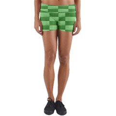 Wool Ribbed Texture Green Shades Yoga Shorts by Celenk