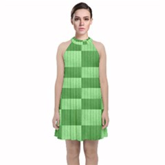Wool Ribbed Texture Green Shades Velvet Halter Neckline Dress  by Celenk