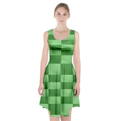 Wool Ribbed Texture Green Shades Racerback Midi Dress