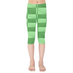 Wool Ribbed Texture Green Shades Kids  Capri Leggings  by Celenk