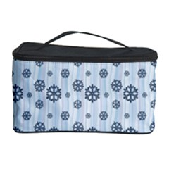 Snowflakes Winter Christmas Card Cosmetic Storage Case by Celenk