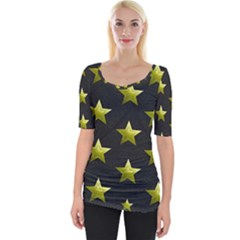 Stars Backgrounds Patterns Shapes Wide Neckline Tee