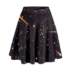 Star Sky Graphic Night Background High Waist Skirt by Celenk