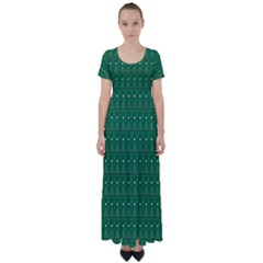 Christmas Tree Pattern Design High Waist Short Sleeve Maxi Dress