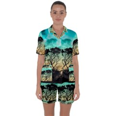 Trees Branches Branch Nature Satin Short Sleeve Pyjamas Set by Celenk