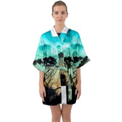 Trees Branches Branch Nature Quarter Sleeve Kimono Robe by Celenk