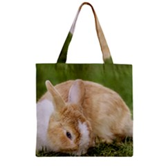 Beautiful Blue Eyed Bunny On Green Grass Zipper Grocery Tote Bag by Ucco