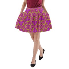 Sacred Geometry Hand Drawing A Line Pocket Skirt by Cveti
