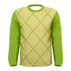 Cross Lines (green And Yellow) Men s Long Sleeve Tee