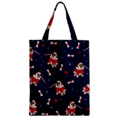 Pug Xmas Pattern Zipper Classic Tote Bag by Valentinaart