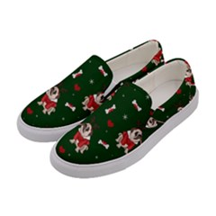 Pug Xmas Pattern Women s Canvas Slip Ons by Valentinaart