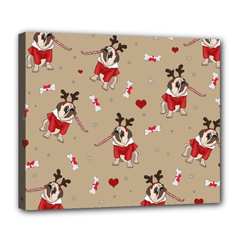 Pug Xmas Pattern Deluxe Canvas 24  X 20   by Valentinaart