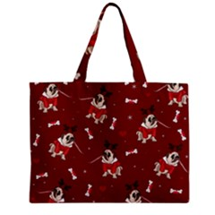 Pug Xmas Pattern Zipper Mini Tote Bag by Valentinaart
