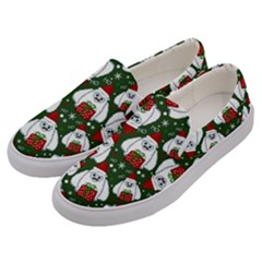 Yeti Xmas Pattern Men s Canvas Slip Ons by Valentinaart