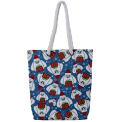 Yeti Xmas Pattern Full Print Rope Handle Bag (small) by Valentinaart