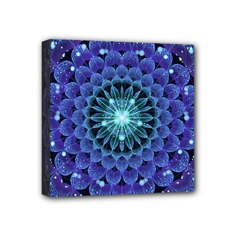 Accordant Electric Blue Fractal Flower Mandala Mini Canvas 4  X 4  by jayaprime