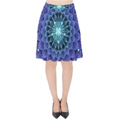 Accordant Electric Blue Fractal Flower Mandala Velvet High Waist Skirt by jayaprime