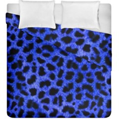 Blue Cheetah Print  Duvet Cover Double Side (king Size) by AllThingsEveryone
