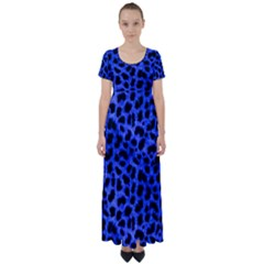 Blue Cheetah Print  High Waist Short Sleeve Maxi Dress