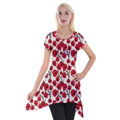 Red Flowers Short Sleeve Side Drop Tunic