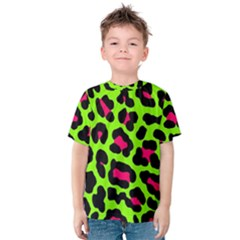Neon Green Leopard Print Kids  Cotton Tee by allthingseveryone