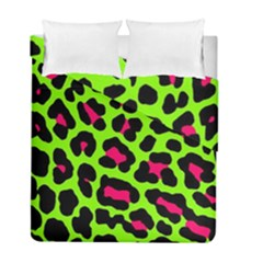 Neon Green Leopard Print Duvet Cover Double Side (full/ Double Size)