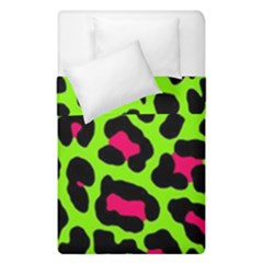 Neon Green Leopard Print Duvet Cover Double Side (single Size) by allthingseveryone