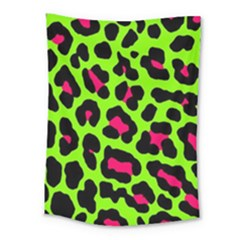 Neon Green Leopard Print Medium Tapestry by allthingseveryone