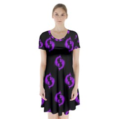 Purple Pisces On Black Background Short Sleeve V Neck Flare Dress by allthingseveryone