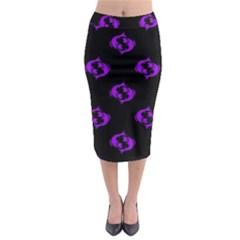 Purple Pisces On Black Background Midi Pencil Skirt by allthingseveryone