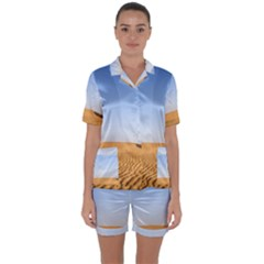 Desert Dunes With Blue Sky Satin Short Sleeve Pyjamas Set