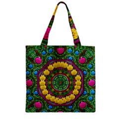 Bohemian Chic In Fantasy Style Zipper Grocery Tote Bag by pepitasart