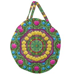 Bohemian Chic In Fantasy Style Giant Round Zipper Tote by pepitasart