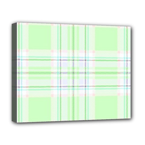 Green Pastel Plaid Deluxe Canvas 20  X 16   by AllThingsEveryone