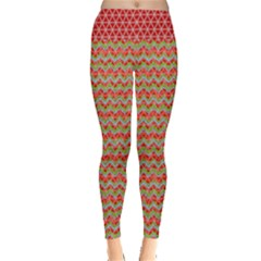 Red Zigzag Pattern Leggings  by PattyVilleDesigns