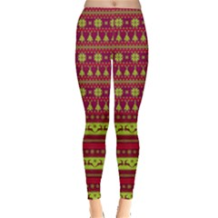Purple & Red Reindeers & Argyle Pattern Leggings  by PattyVilleDesigns