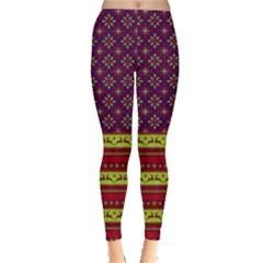 Purple Christmas Pattern Leggings  by PattyVilleDesigns