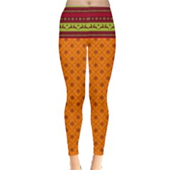 Orange Christmas Patterns Leggings  by PattyVilleDesigns