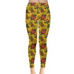 Dark Yellow Christmas Florals Pattern Leggings  by PattyVilleDesigns