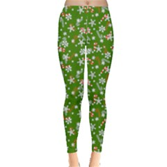 Green Snowflakes With Candy Cane Pattern Leggings  by PattyVilleDesigns