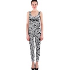 Hand Drawing Tribal Black White Onepiece Catsuit by Cveti