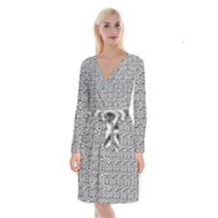 Hand Drawing Tribal Black White Long Sleeve Velvet Front Wrap Dress by Cveti